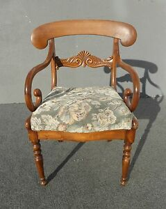 Vintage French Country Carved Wood Accent Chair Unique Scrolled Hand Rests