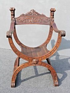 Antique Spanish Gothic Savonrola X Ornate Dagobert Arm Chair France 1870 S