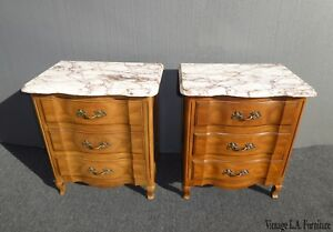 Pair Vintage French Provincial Marble John Widdicomb Nightstands W Brass Handles