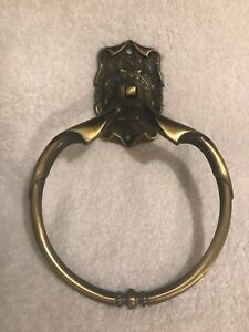 Vintage Amerock Carriage House Antique Brass Hand Towel Ring Mid Century Mod