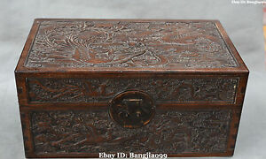 45cm Chinese Huanghuali Wood Ancient Dragon Phoenix Chest Box Case Boxes Statue