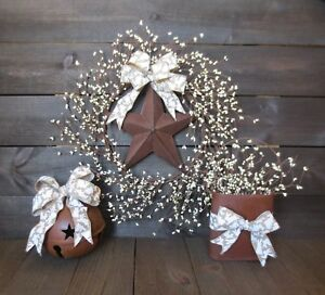 Easter Bow Country Rusty Star Wreath Rusty Pail Bell Cream Pip Berry Decor Lot
