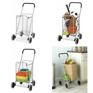 Folding Shopping Cart With Wheels Grocery Laundry Toy Rolling Utility Trolley
