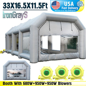 Large Spray Booth Inflatable Tent Car Paint Portable Cabin 3 Blowers 33x16x11ft