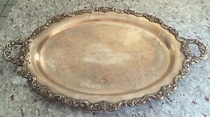 Rare Large 30 Footed Handled Poole Lancaster Rose Silverplate Tray John Adams