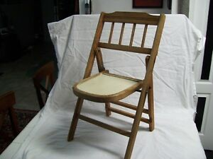 Antique Vintage Childs Wood Folding Chair With Half Round Seat 24 1940 S