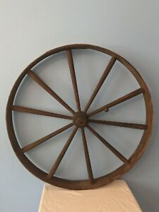 Antique 30 75 Wooden Wagon Stagecoach Wheel Stamped Wells Fargo