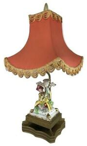 Vintage Chinoiserie Asian Porcelain Figural Pagoda Brass Mid Century Table Lamp