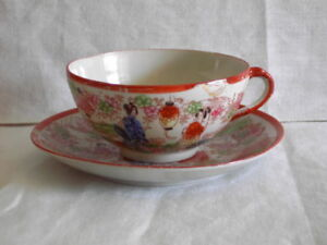 Antique Japanese Kutani Geishas Hand Painted Tea Cup And Saucer Marked Japan