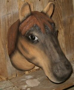 Horse Head Wall Sculpture Primitive French Country Urban Farmhouse Stable Decor