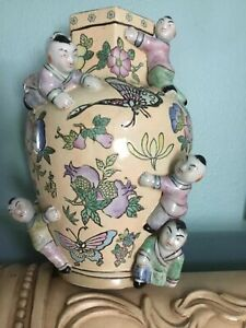 Chinese Antique Famille Rose Porcelain Vase With Six Kids And Qing Dynasty Mark