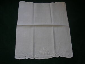 Antique Large Hand Towel With Embroidered Flower
