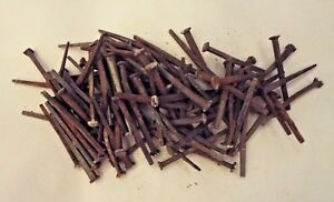 100 Antique Vintage Square Head Nails 1870s Reclaimed Homestead Barn 1 3 4