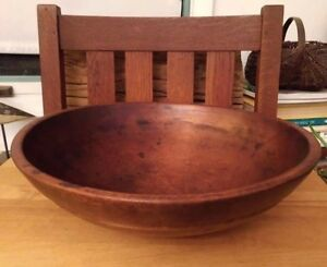 Early Primitive Americana Treen Wooden Bowl Patina Aafa Out Of Round Antique Wow