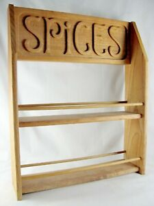 Era Industries Evelyn Ackerman Wood Spice Rack 15 3 4 Jerome Carved Vtg