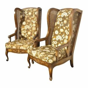 Pair Vintage Mid Century Modern Wingback Cane Brown Floral Mod Arm Chairs
