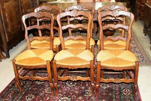 Set Of 6 French Antique Louis Xv Oak Rush Seat Chairs Dining Room Furniture