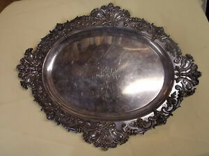Tare Wm Kerr Sterling Platter Tray Demon Rams Cherubs Awsome 41 Ounces 17 5 8 In