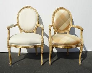 Pair Vintage French Provincial Style Carved Wood White Plaid Accent Chairs