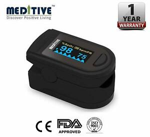 Meditive Finger Tip Pulse Oximeter With Alarm Function And 4 Side Viewing Angle