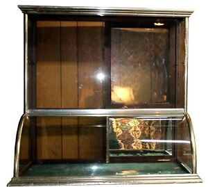 Antique Flat Top Nickel Wood Jewelry Showcase W Teal Felt Mirrored Back