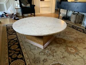Custom Large Mid Century Travertine Marble Coffee Table