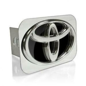 Toyota 3d Logo Black Infill Chrome Tow Hitch Cover Official Licensed