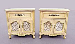 Vintage Pair Of Hickory French Provincial Country Carved Mesh Doors Nightstands