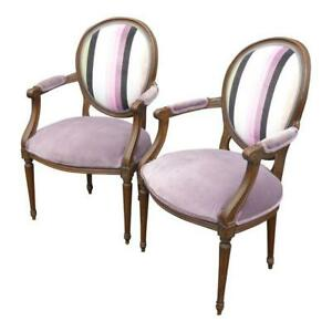 Pair Of Vintage Baker Round Back French Provincial Purple Striped Arm Chairs