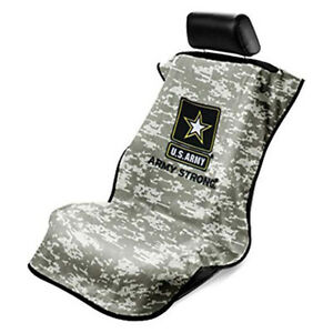 Camo Black Terry Velour Seat Cover Towel Fits Universal Fitment U S Army Logo