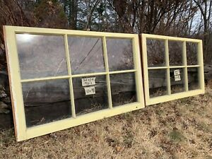 2 36 X 23 Matching Vintage Window Sash Old 6 Pane Yellow Finish Arts