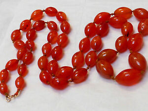 Chinese Antique Vintage Carnelian Agate Beads Necklace 224grams