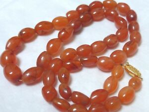 Chinese Antique Carnelian Agate Beads Necklace Silver Clasp 64grams