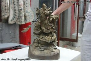 21 Chinese Bronze Guangong Guanyu Warrior God Hold Sword Stand On Dragon Statue