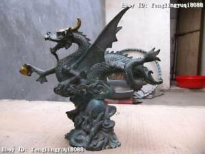 8 Chinese Folk Vintage Old Bronze Copper Carved Fly Wings Dragon Statue