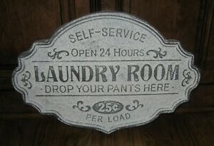 Big Galvanized Metal Laundry Room Sign Primitive French Country Farmhouse Decor