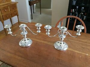 Silver On Copper Pair Of Candelabras