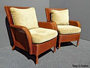 Pair Of Two Vintage Janus Et Cie Rattan Accent Chairs Down Feather Back Cushions