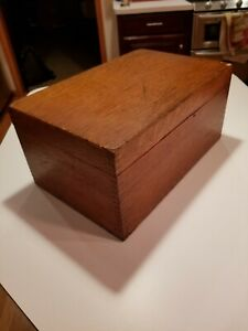 Vintage Solid Oak Wooden Dovetail Index Card File Box 9 X 14 X 6 5 Tall