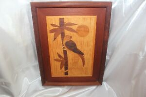 Vintage Marquetry Wood Inlaid Signed Bird Picture Labeled Wood Types World