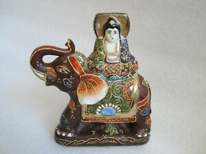 Antique Chinese Immortal Riding An Elephant Porcelain Candle Holder Figurine