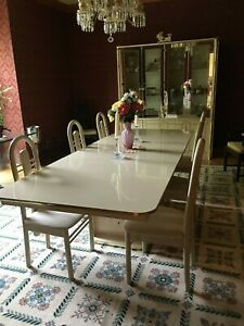Vtg Made In Italy Dining Room Set 9 Table W 2 Leaves Pads 6 Chairs Lrg Cabinet