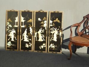 Four Vintage Japanese Geisha Mother Of Pearl Inlay Hand Painted Wall Panels 2