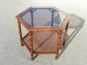 Vintage Mid Century Modern Hexagon Two Tier Smokey Glass Cane Coffee Table