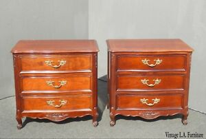Pair Of Vintage French Provincial Nightstands By Kindel W Brass Hardware