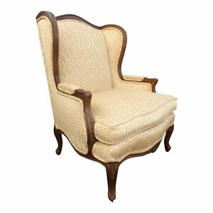 Vintage French Leopard Cheetah Print Tan Wing Back Accent Chair W Down Feathers