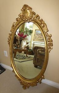 Large 42 1 2 Tall Vintage French Provincial Ornate Gold Gilt Oval Wall Mirror