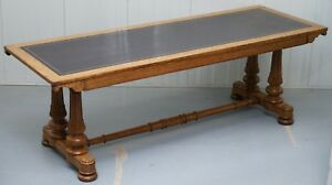 1840 Oak Leather Top Refectory Library Table From In Out Naval Military Club