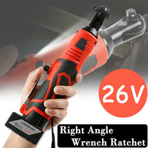 26v Cordless Electric Right Angle Ratchet Wrench 3 8 Tool Kit Li ion Battery