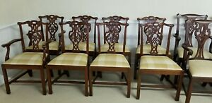 Eight Baker Dining Chairs Chippendale Mahogany Excellent